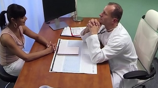 Tanned patient fucks muscular doctor