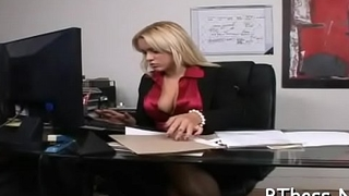 Sexy boss lady gives wet oral sex and takes it hard doggystyle