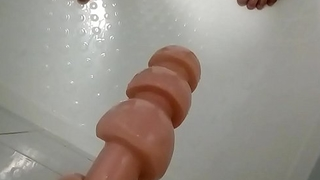 Cant push deeper  huge dildo