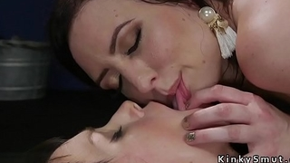 Butt plugged lesbian slave ass whipped